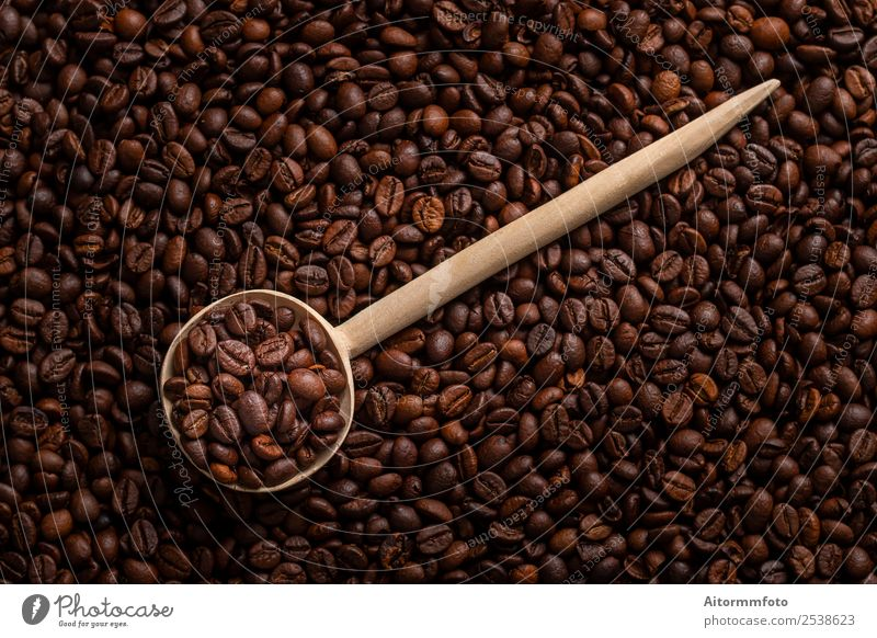 Wooden spoon with roasted coffee beans Grain Breakfast Coffee Spoon Lifestyle Love Fresh Hot Delicious Natural Energy Colour arabica Aromatic background barista