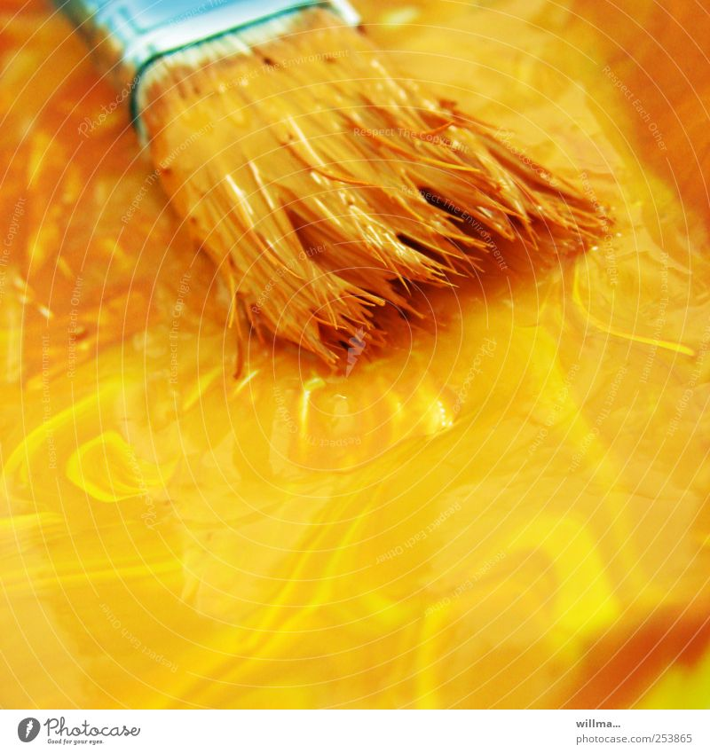 brush in yellow color Leisure and hobbies Painter Craft (trade) Art Painting and drawing (object) Autumn Paintbrush Dye Draw Yellow Orange Turquoise Bristles