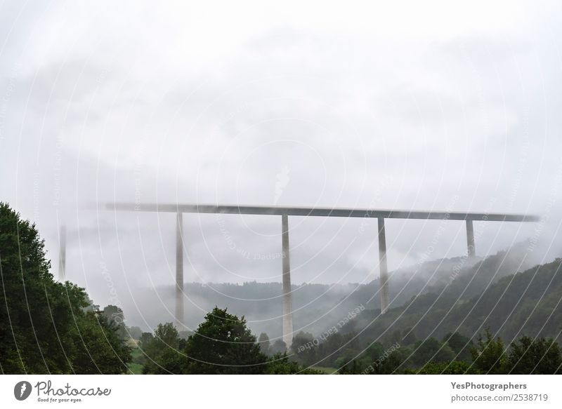 Modern high bridge over wooded hills and fog Vacation & Travel Technology Nature Landscape Clouds Fog Forest Hill Braunsbach Germany Architecture Transport