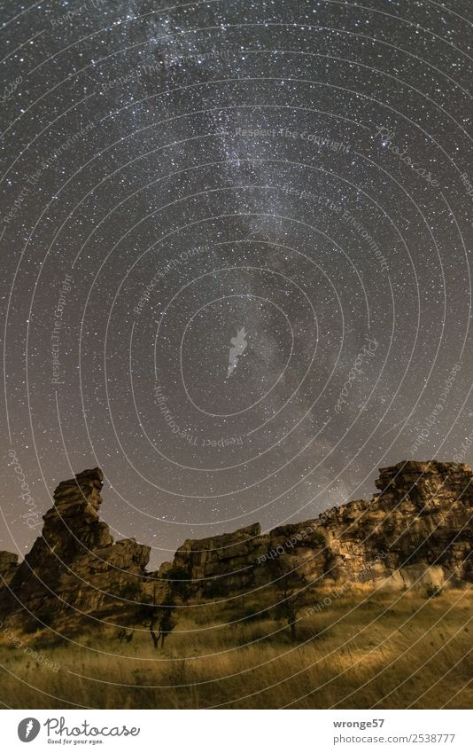 complex   the Milky Way Nature Landscape Earth Air Sky Cloudless sky Night sky Stars Summer Rock Teufelsmauer Observe Illuminate Gigantic Infinity Brown Yellow