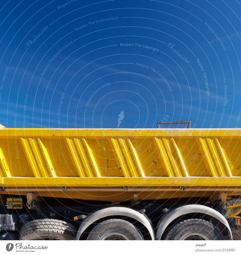 Nature Blue Yellow Metal Line Arrangement Modern Fresh Transport Authentic Break Stripe Construction site Simple Truck Beautiful weather