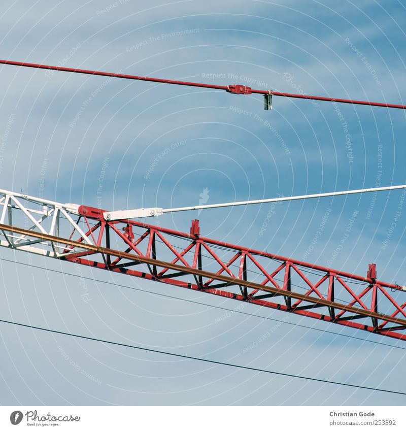 Tensioned Machinery Technology Industry Deserted Manmade structures Building Red Line Diagonal Crane Traverse Reddish white White linkage Crossbeam tension