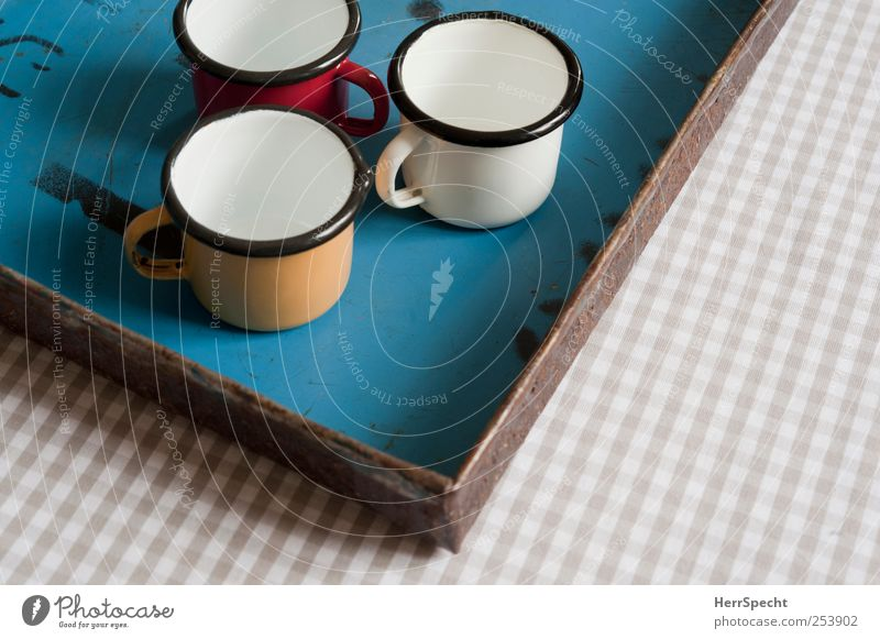 Metal Empty Crockery Cup Checkered Tray
