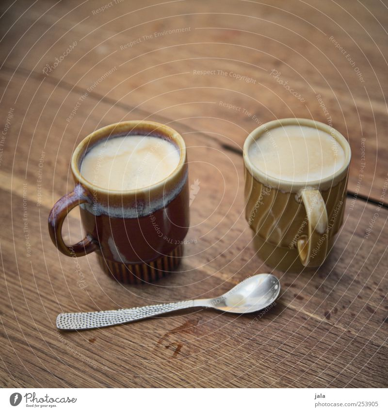 moin! Coffee? Food Breakfast Beverage Hot drink Latte macchiato Cup Spoon Delicious Brown Colour photo Interior shot Deserted Copy Space top Neutral Background