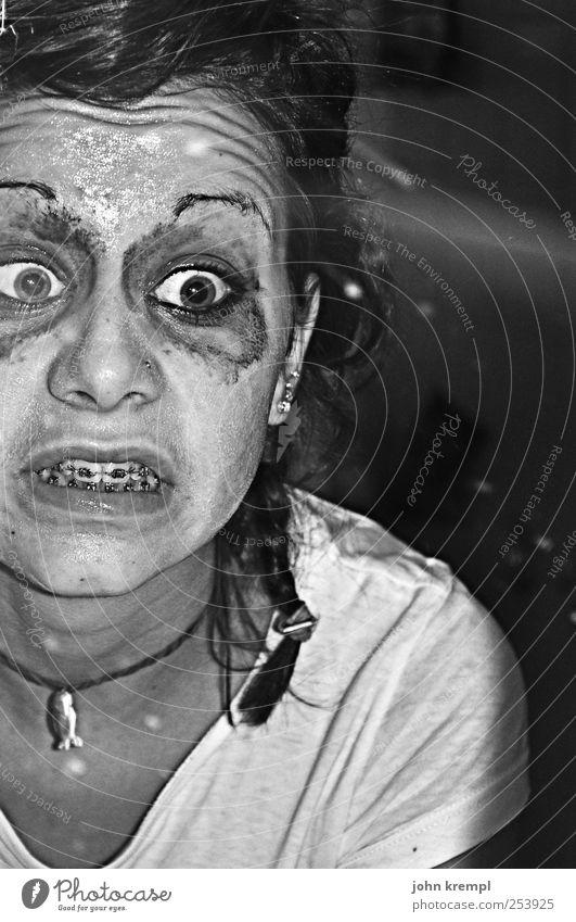 Human being Face Eyes Skin Wet Crazy Cool (slang) Bathroom Teeth Mirror Creepy Whimsical Make-up Chaos Trashy Bizarre