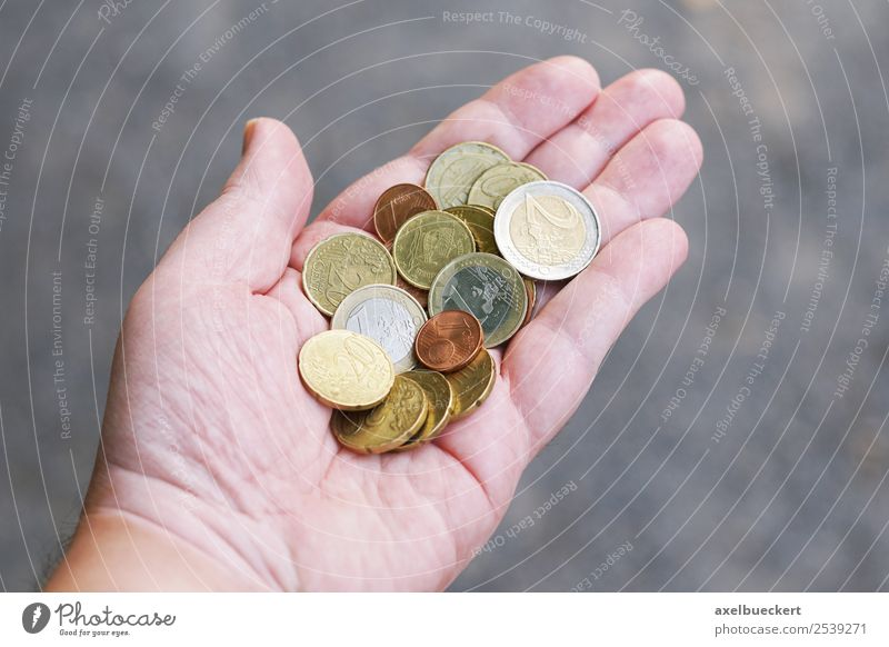 handful of change Lifestyle Shopping Luxury Business Human being Masculine Man Adults Hand 1 Money To hold on Euro Coin Indicate Cent Financial Crisis