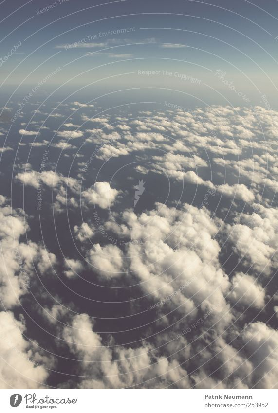 Sky Blue White Ocean Clouds Calm Far-off places Above Horizon Contentment Wind Elegant Flying Tall Airplane Esthetic