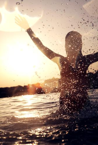 Woman Youth (Young adults) Sun Vacation & Travel Ocean Summer Joy Freedom Leisure and hobbies Swimming & Bathing Drops of water Esthetic Happiness Action
