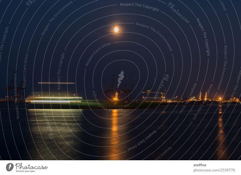 full moon, boat, harbour, lights, night Navigation Passenger ship Harbour Driving Movement Full  moon Long exposure Denmark aarhus Lighthouse Reflection