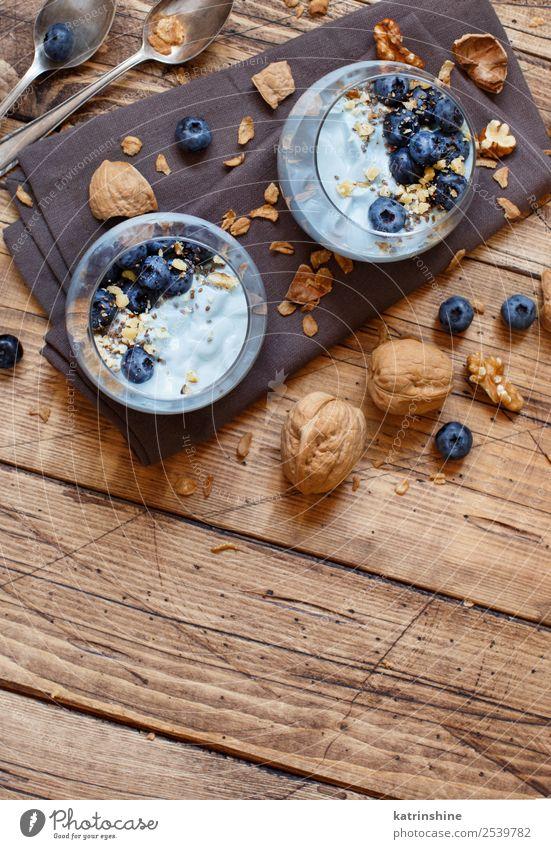 Blueberries and yogurt chia pudding parfait Yoghurt Fruit Dessert Nutrition Breakfast Vegetarian diet Diet Spoon Summer Fresh Bright White Colour Berries