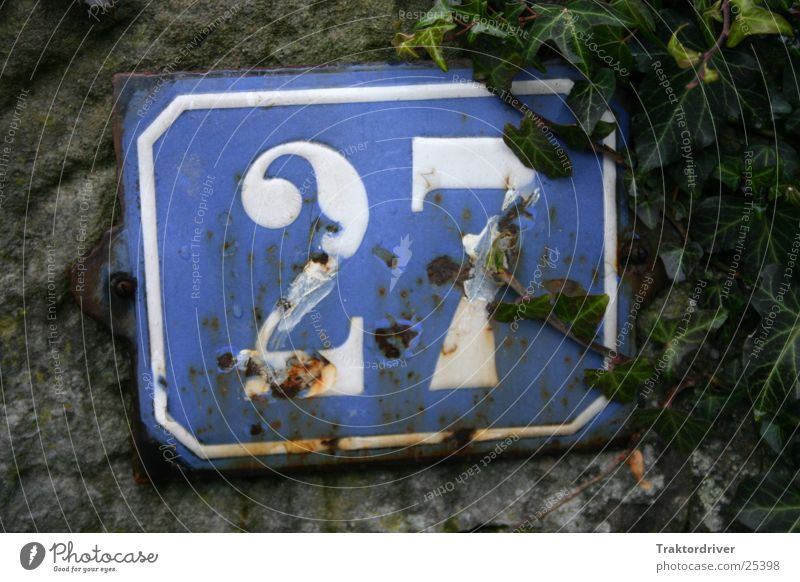 house number Digits and numbers Number plate House number White Rust Ivy 2 7 Industry house number plate 27 twenty-seven Blue Old