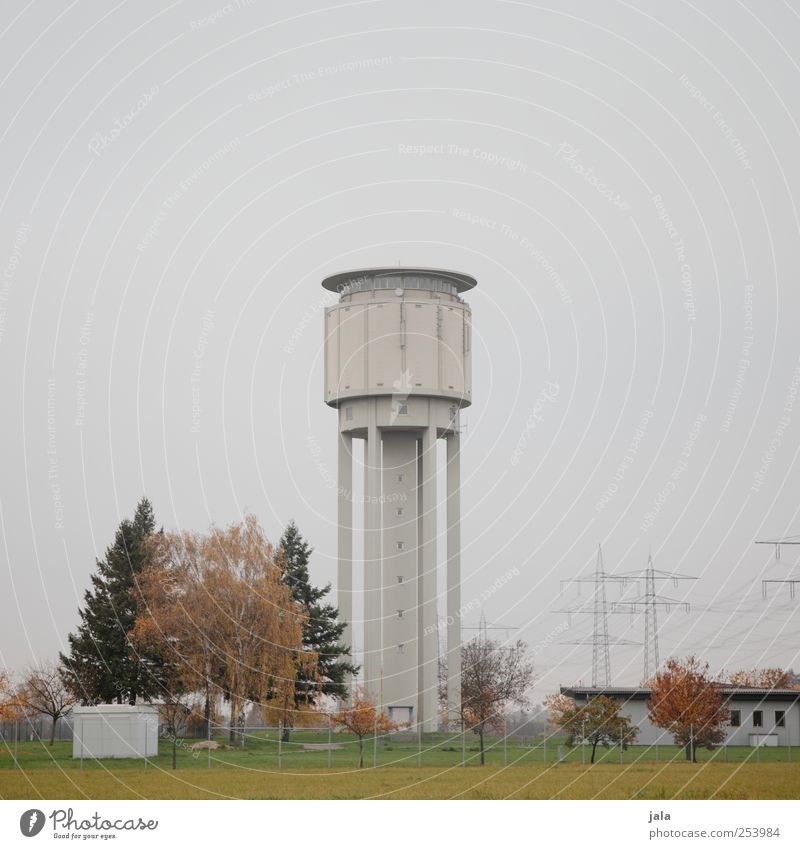 water tower Nature Sky Autumn Plant Tree Tower Manmade structures Building Architecture Water tower Landmark Gloomy Colour photo Exterior shot Deserted