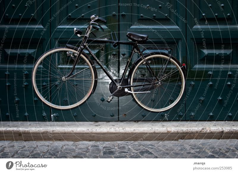 in the air Lifestyle Door Means of transport Bicycle Exceptional Whimsical Parking Hang Hover Floating Magic Safety Colour photo Exterior shot Deserted