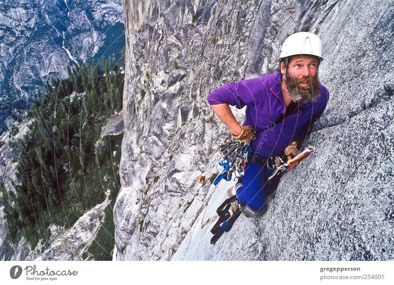 Rock climber ascending Half Dome. Human being Man Adults Life Sports Masculine Success Joie de vivre (Vitality) Rope Adventure Risk Climbing Athletic Trust Balance Height