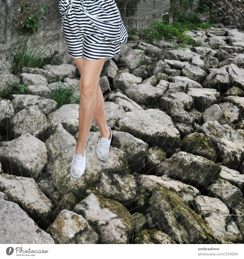 Human being Woman Nature Youth (Young adults) Beautiful Summer Adults Environment Life Autumn Feminine Stone Style Legs Fashion Footwear