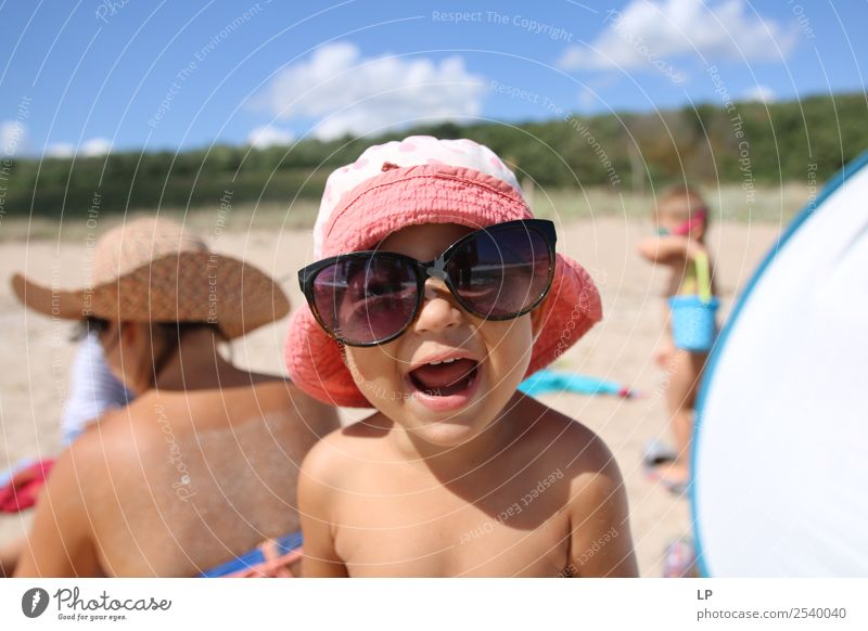 happiness with sunglasses Child Human being Summer Sun Joy Beach Lifestyle Adults Emotions Family & Relations Playing Moody Contentment Leisure and hobbies