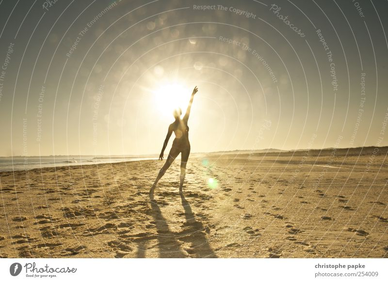 Sun-day Vacation & Travel Summer Summer vacation Beach Ocean Waves Human being Feminine Relaxation Dance Moody Joy Tourism Silhouette Colour photo Exterior shot