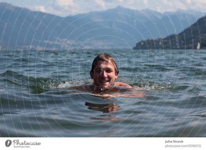 Enjoy swimming View Lake Masculine Man Adults 1 Human being 30 - 45 years Nature Water Summer Beautiful weather Mountain Lago Maggiore Brunette Movement