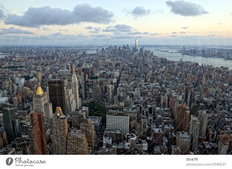 Empire State Building View Vacation & Travel Tourism Sightseeing City trip Summer Architecture Sunrise Sunset Beautiful weather Hudson River New York City