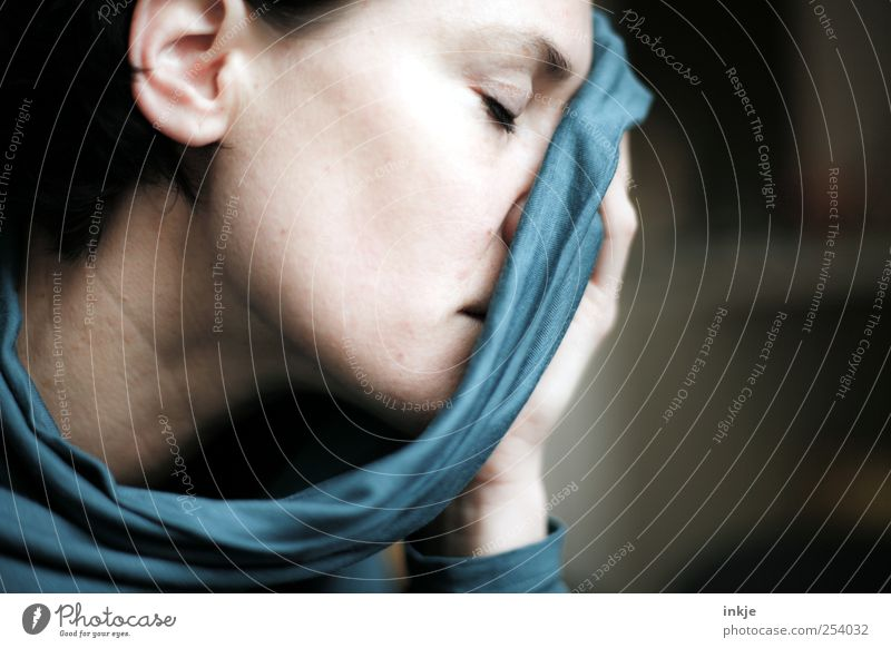 Woman Blue Beautiful Adults Feminine Life Emotions Sadness Think Dream Moody Authentic Hope Grief Soft Cloth
