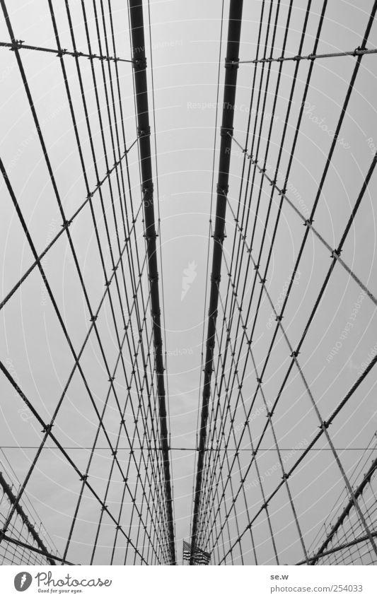 Far-off places Line Rope Tourism Bridge Flag Net American Flag New York City Brooklyn Bridge