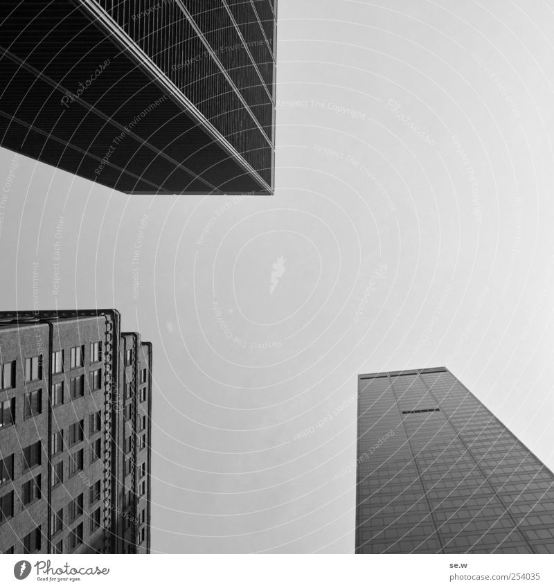 Composition - 3 bodies and lines Cloudless sky New York City Town Skyline House (Residential Structure) High-rise Architecture Facade Sharp-edged Cliche Power