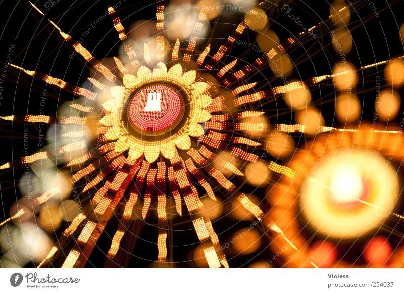 Hamburg my pearl... Illuminate Round Fairs & Carnivals Hamburg Dom Ferris wheel Double exposure Colour photo Experimental Blur Motion blur Night