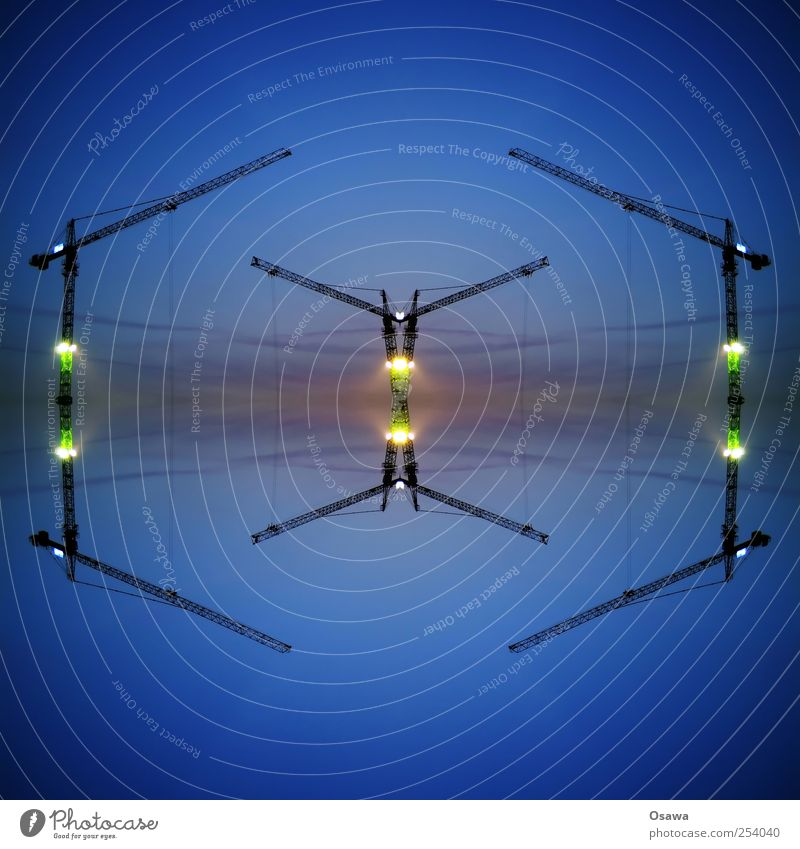 Sky Construction site Steel cable Crane Surrealism Copy Space Symmetry Carrier Wire cable Construction crane Kaleidoscope Construction machinery Outrigger
