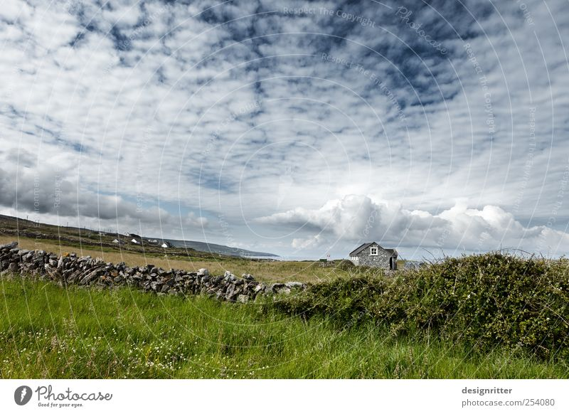 Summer Ocean Clouds Calm Loneliness House (Residential Structure) Far-off places Life Meadow Wall (building) Environment Landscape Coast Wall (barrier) Stone