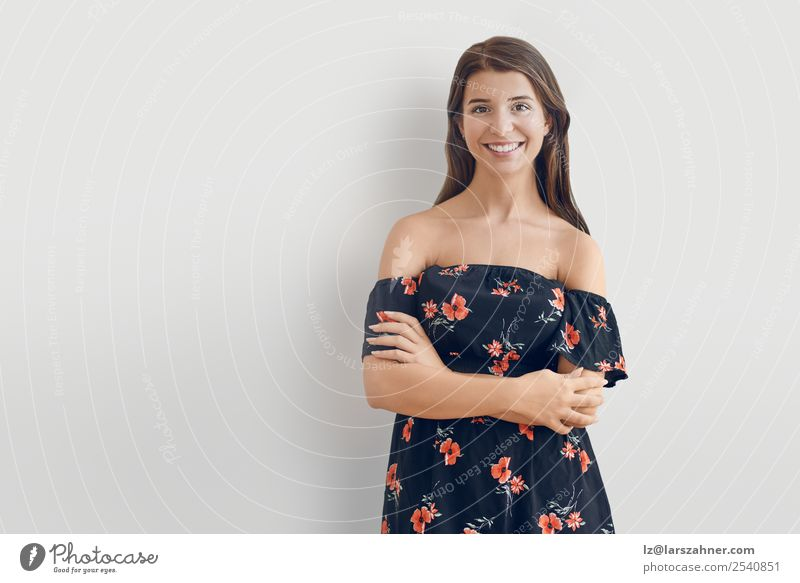 Attractive stylish woman in off the shoulder dress Style Happy Face Summer Woman Adults 1 Human being 18 - 30 years Youth (Young adults) Dress Brunette Smiling
