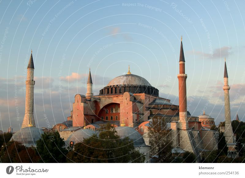 The Beautiful Hagia Sofia in Istanbul Old Beautiful City Vacation & Travel Stone Park Pink Elegant Gold Concrete Esthetic Might Manmade structures Brick Historic