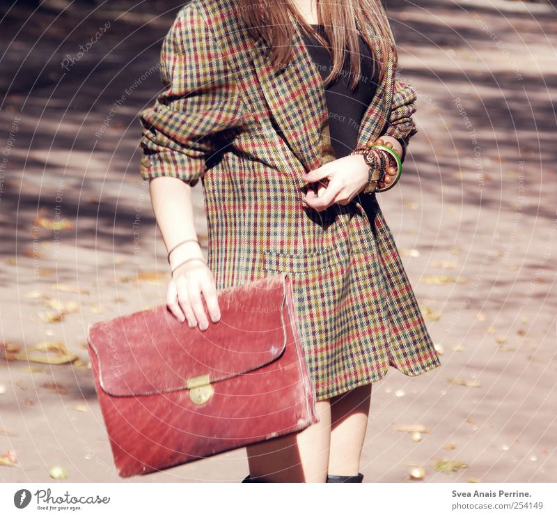 Human being Youth (Young adults) Feminine Adults Movement Fashion Going Retro To hold on Thin 18 - 30 years Jewellery Brunette Coat Young woman Accessory