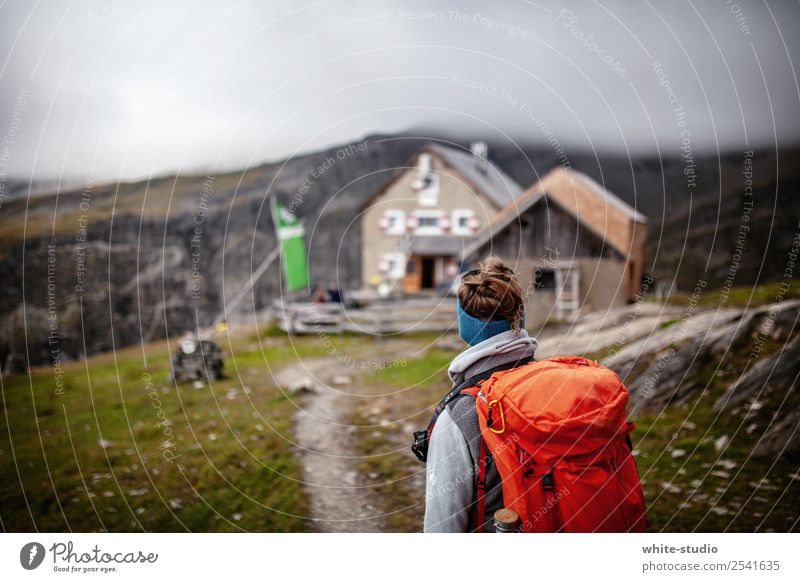 Cabin in sight Woman Adults Hiking Hohen Tauern NP Mountaineer Mountaineering Hut Chalet vacation Wooden hut Backpack Backpacking Break Come Arrival