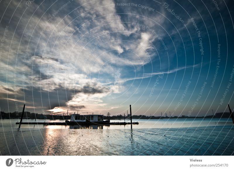 Sky Blue Clouds River bank Elbe Low tide Port City Inland navigation Elbufer Houseboat