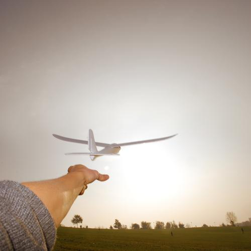 learning to fly Human being Masculine Arm Hand Fingers Environment Nature Landscape Air Meadow Flying Airplane Sailplane Horizon Airplane takeoff Independence