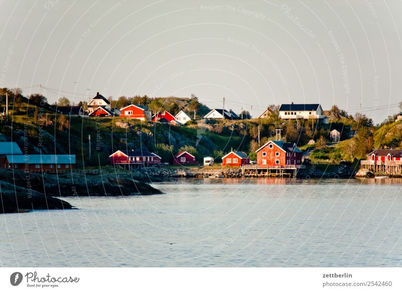 Picture postcard of Å Lofotes Arctic Ocean Europe Rock Vacation & Travel Village Fishery Harbour Sky Heaven Horizon Island Landscape Maritime Nature Norway