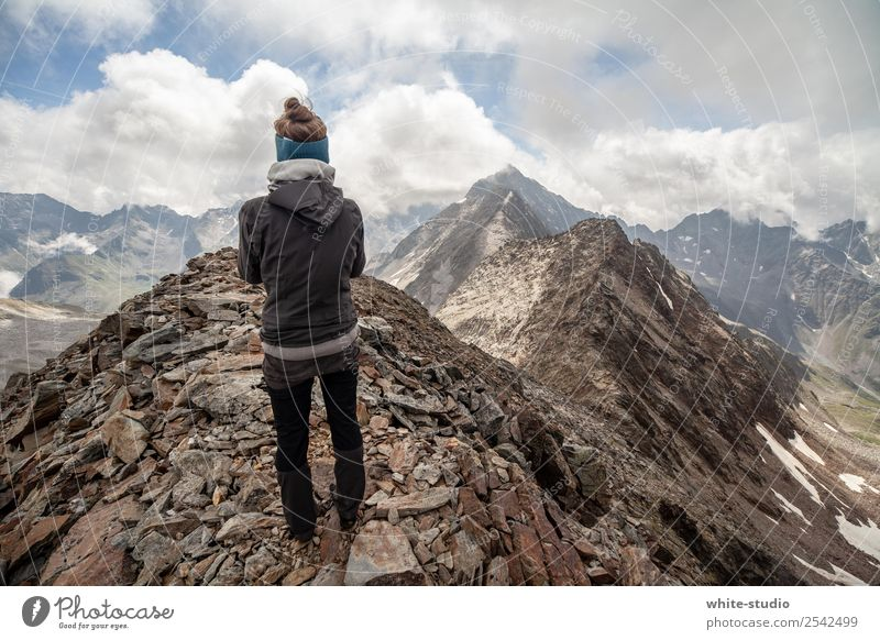 mountain worlds Healthy Eating Athletic Fitness Contentment Summer Summer vacation Mountain Hiking Sports Climbing Mountaineering Woman Adults 1 Human being