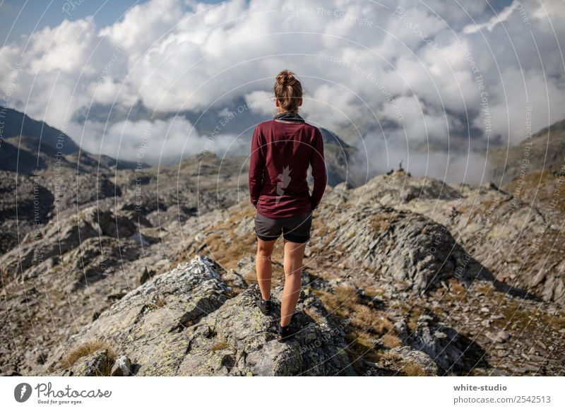 Woman Human being Nature Youth (Young adults) Summer Landscape Loneliness Mountain 18 - 30 years Adults Environment Feminine Sports Freedom Contentment Hiking