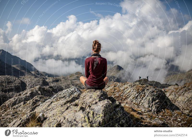 meditation Woman Adults Hiking Meditation To enjoy Sit Cross Legged Vantage point Mountain Break Relaxation Calm Mountaineering Vacation & Travel