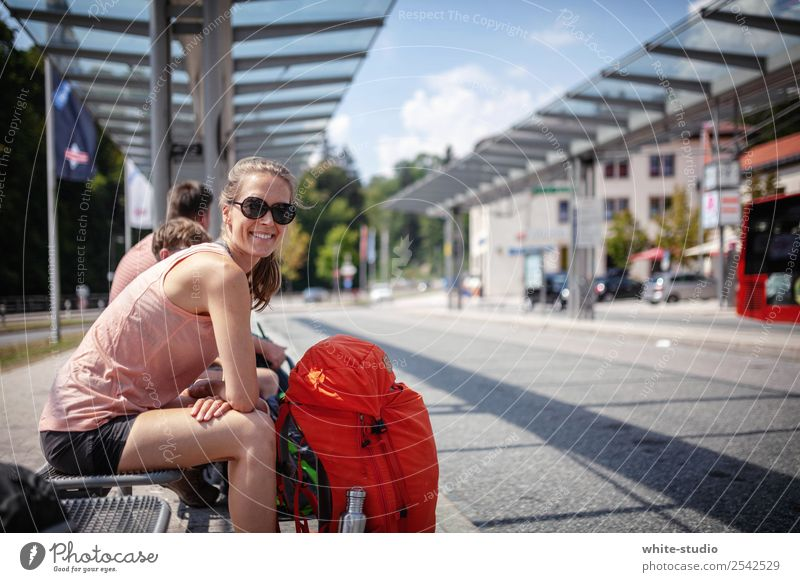 Off to adventure Woman Adults Hiking Wait Backpack Backpacking Backpacking vacation Tourism Train station Bus terminal Station hall Vacation & Travel Bus travel