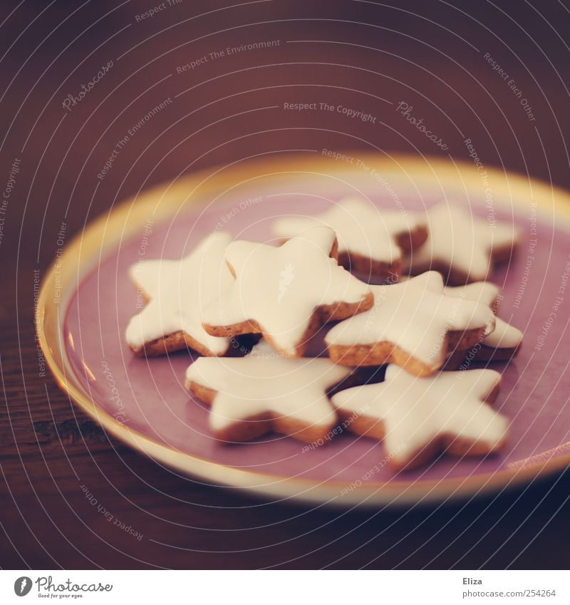 Christmas cinnamon stars on a plate. Christmas cookies. Star cinnamon biscuit Cookie Delicious Christmas & Advent Cozy Candy pretty Star (Symbol) Pink