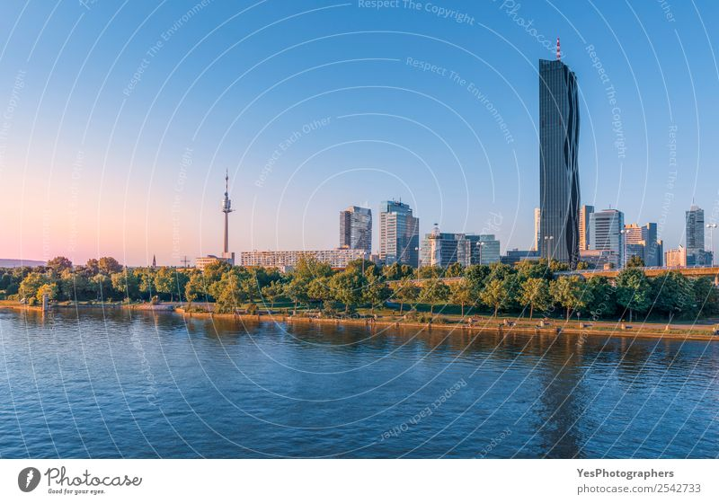Skyline of the Donau district in Vienna Capital city High-rise Architecture Tourist Attraction Landmark Modern Danube river apartment blocks Atmosphere Austria