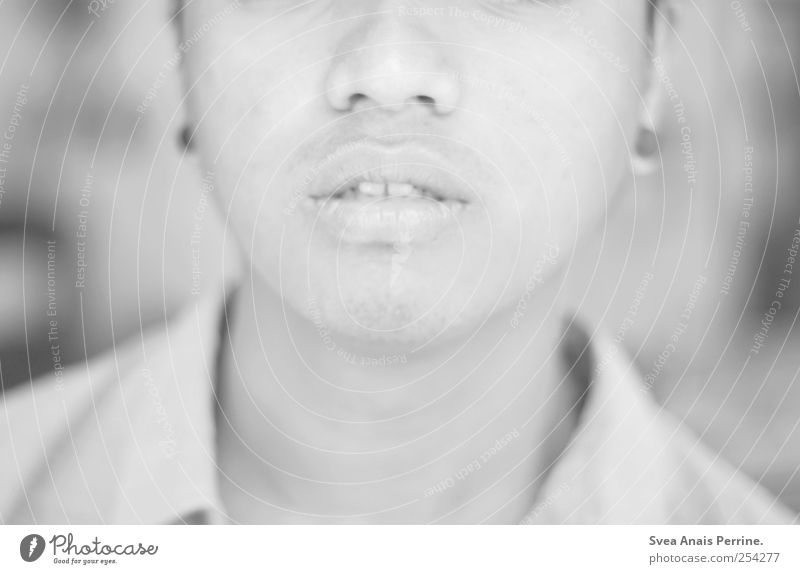 love the living. Masculine Young man Youth (Young adults) Mouth Lips Chin 1 Human being 18 - 30 years Adults Bright Sadness Blur Black & white photo