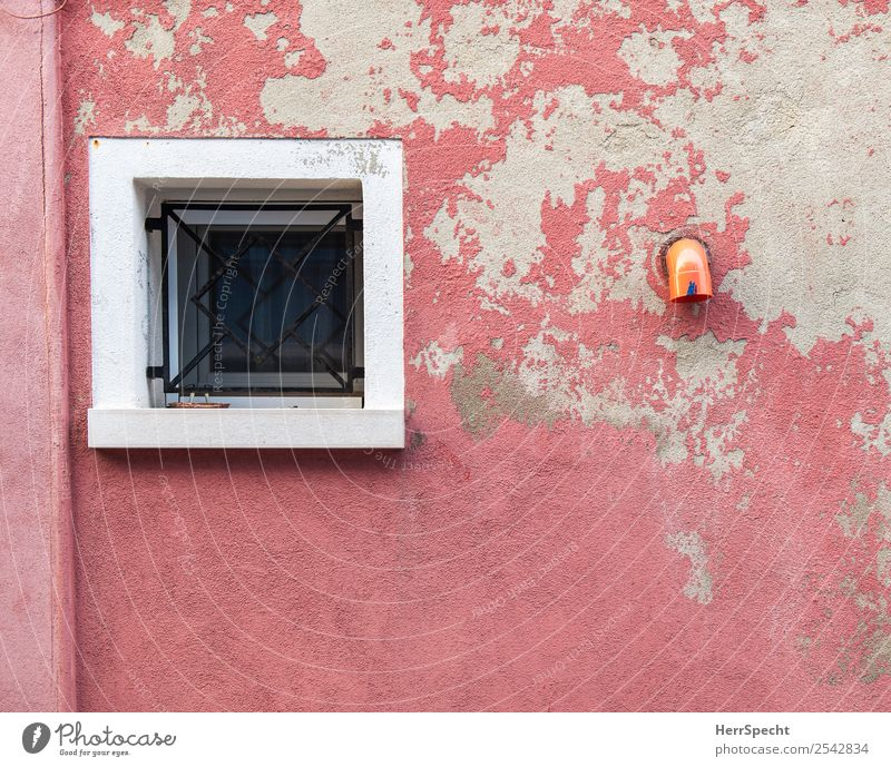 Wall-Still Venice Old town House (Residential Structure) Building Wall (barrier) Wall (building) Window Eaves Historic Pink Grating Drainpipe Derelict Paintwork