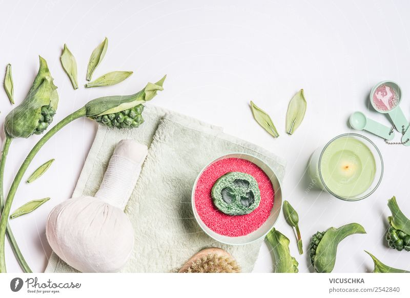 Spa with bath salt, towel and massage herbal compress Style Design Beautiful Personal hygiene Cosmetics Healthy Medical treatment Wellness Cure Massage Nature