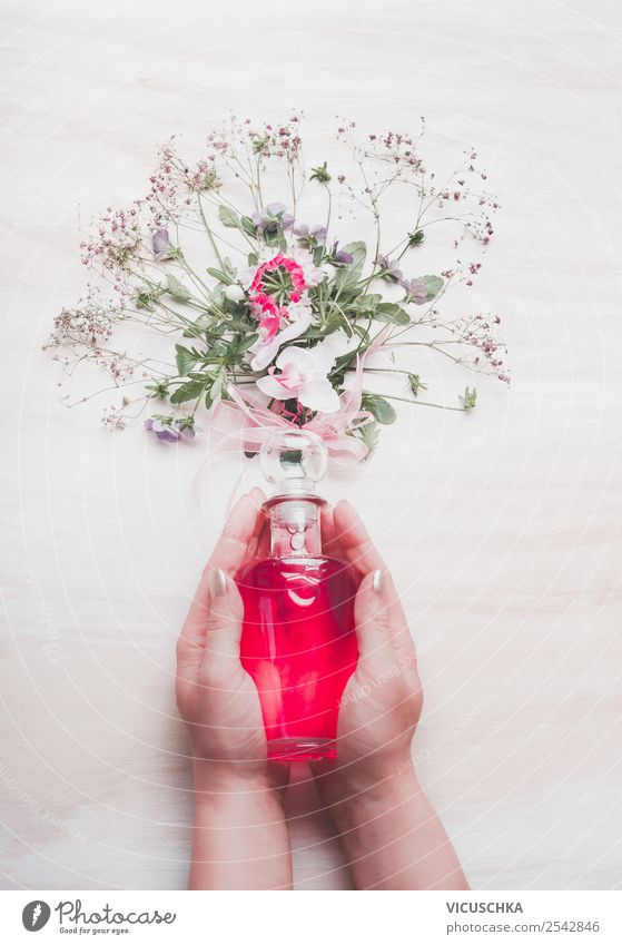 Perfume in female hands with flowers Style Design Beautiful Cosmetics Spa Feminine Woman Adults Hand Nature Flower Blossom Pink Background picture Blog