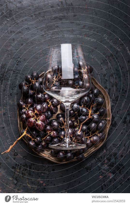 Grapes and wine glass Food Wine Shopping Style Design Table Restaurant Vintage Bunch of grapes Wine glass Dark Still Life Colour photo Studio shot