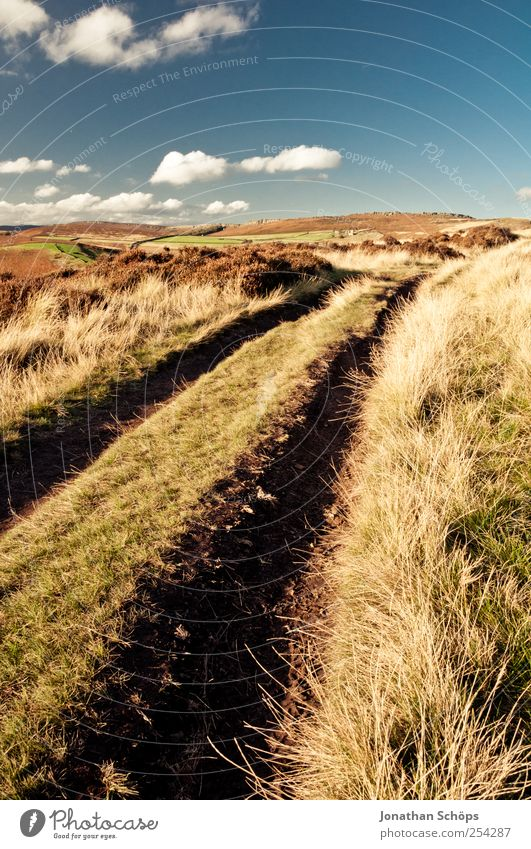 Peak District II Environment Nature Landscape Earth Sky Summer Autumn Climate Beautiful weather Grass Field Hill Blue Brown Yellow Gold Footpath Lanes & trails