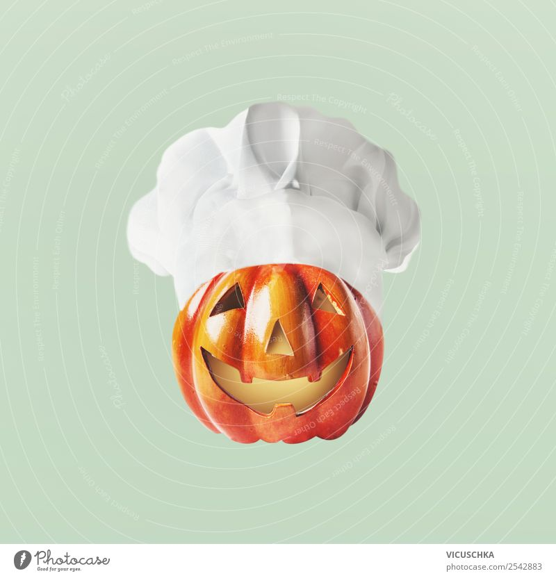 Funny carved pumpkin face with chef's hat Food Nutrition Shopping Design Feasts & Celebrations Hallowe'en Decoration Sign Pumpkin Chef's hat Face Head Graven