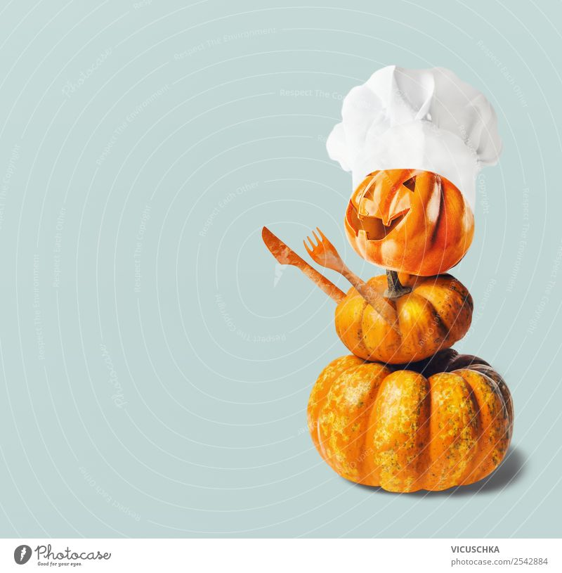 Pumpkin male with chef's hat Food Vegetable Nutrition Style Design Joy Feasts & Celebrations Thanksgiving Hallowe'en Decoration Yellow Tradition